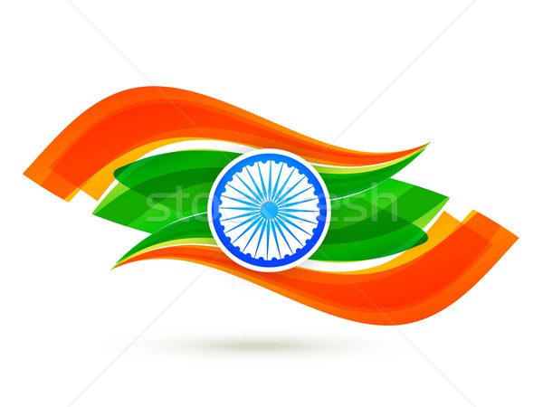 indian flag design with wave style in tricolor  Stock photo © Pinnacleanimates