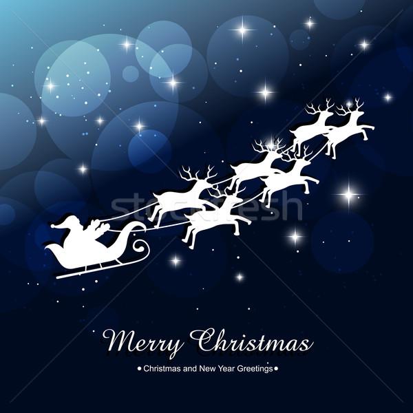 santa claus riding sleigh Stock photo © Pinnacleanimates