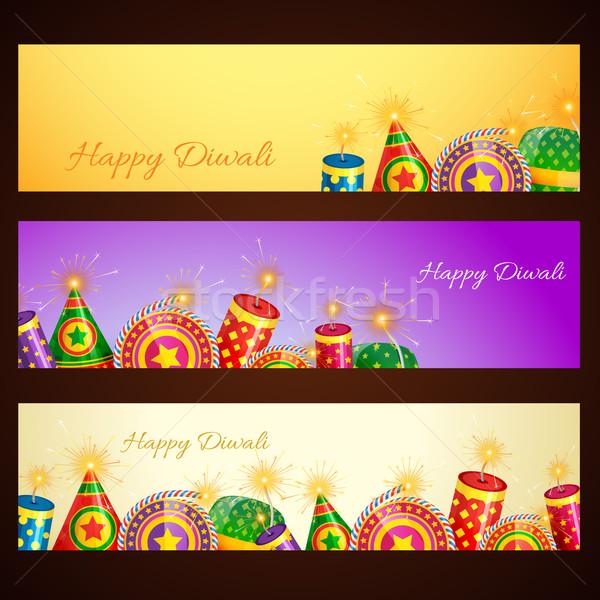 Diwali banner vector feliz luz arte Foto stock © Pinnacleanimates
