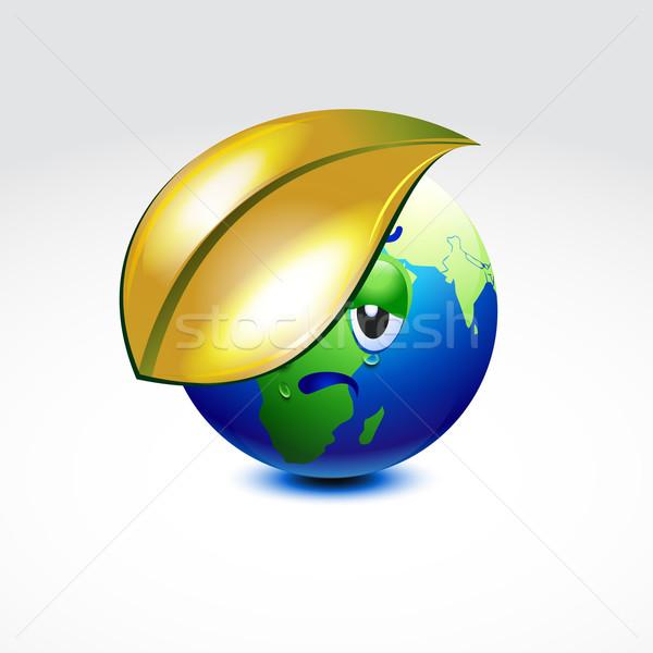 Föld globális felmelegedés vektor terv levél térkép Stock fotó © Pinnacleanimates