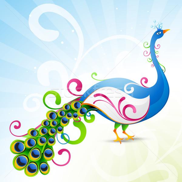 Artistik tavuskuşu güzel dizayn örnek doğa Stok fotoğraf © Pinnacleanimates