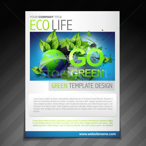 eco friendly flyer brochure design poster template Stock photo © Pinnacleanimates