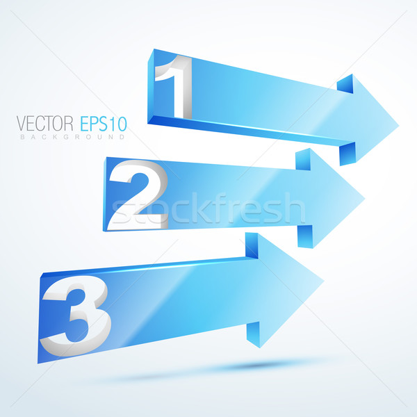 3d blue numbered arrows   Stock photo © Pinnacleanimates