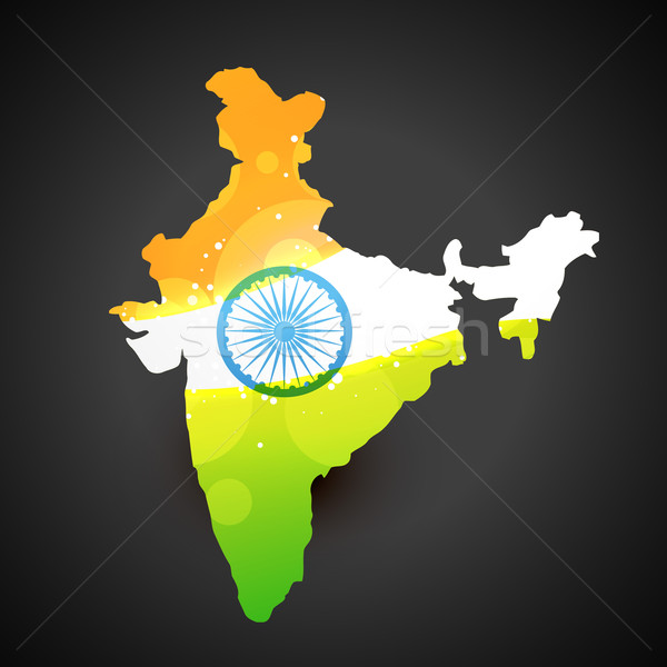 Stock photo: indian flag map
