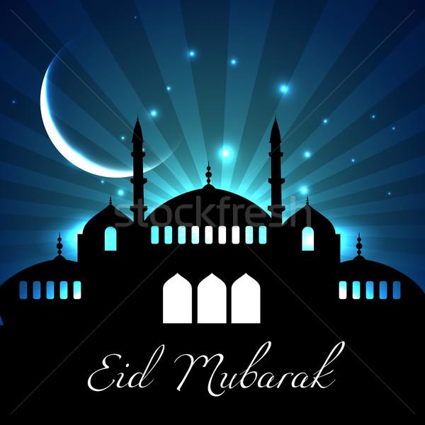 Meczet księżyc wektora islam tle zielone Zdjęcia stock © Pinnacleanimates