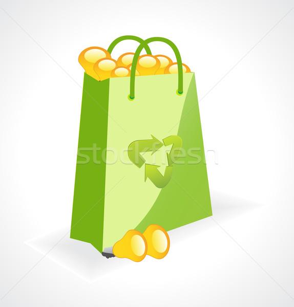 Сток-фото: зеленый · сумку · экология · символ · вектора · бумаги