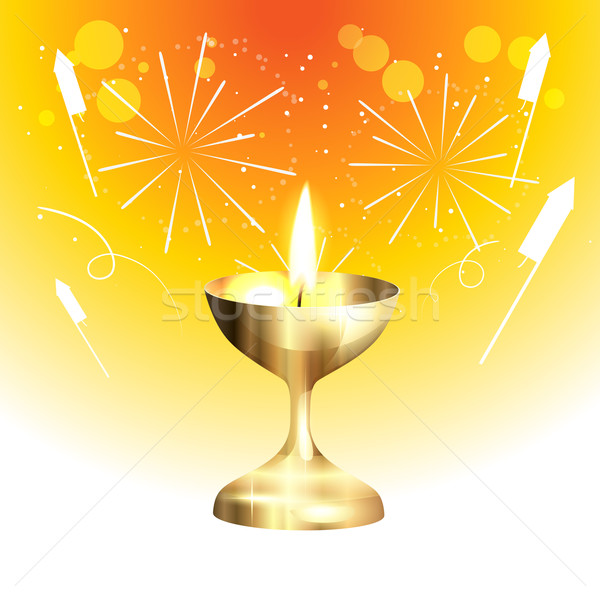 golden diwali lamp Stock photo © Pinnacleanimates