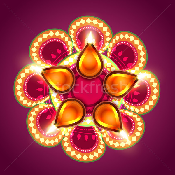 Stock photo: creative happy diwali background