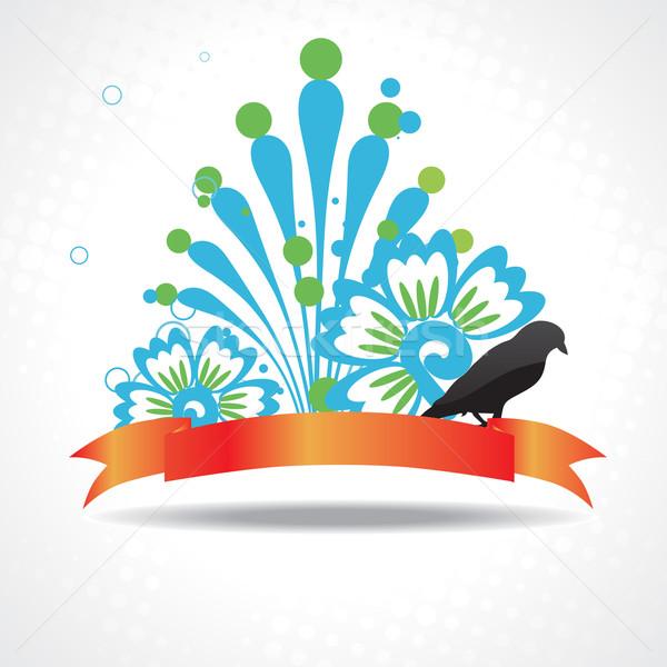 vector silhouette of bird with beautiful artwork Stock photo © Pinnacleanimates