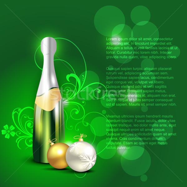 Sörösüveg vektor karácsony golyók művészet zöld Stock fotó © Pinnacleanimates