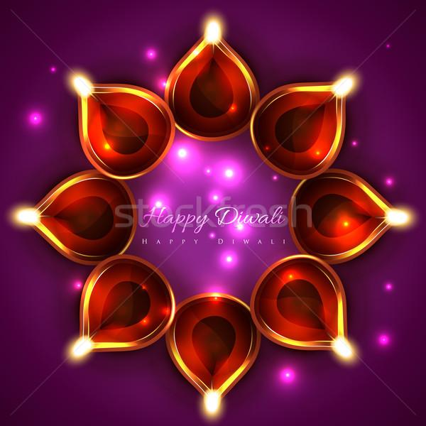 Brillante diwali vector feliz luz diseno Foto stock © Pinnacleanimates
