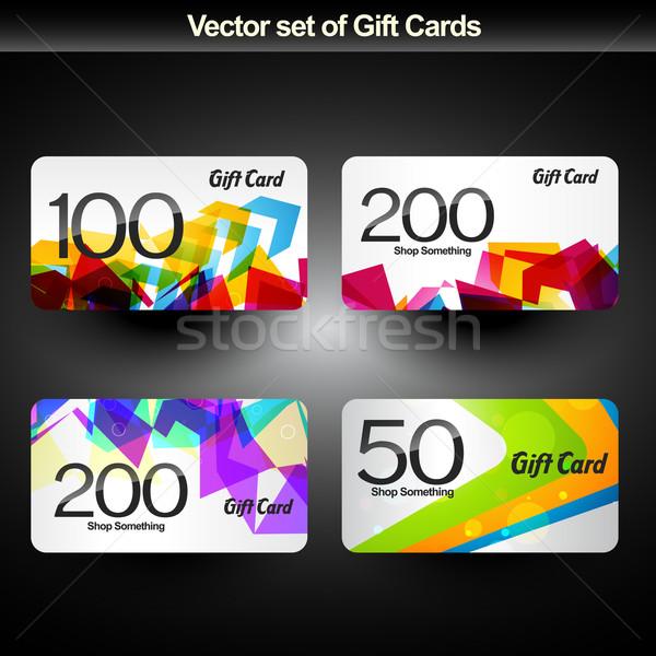 Cartão de presente vetor conjunto quatro feliz abstrato Foto stock © Pinnacleanimates