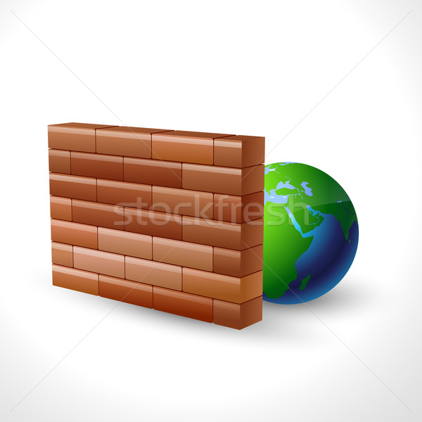 Firewall Symbol Design Vektor Welt Server Stock foto © Pinnacleanimates