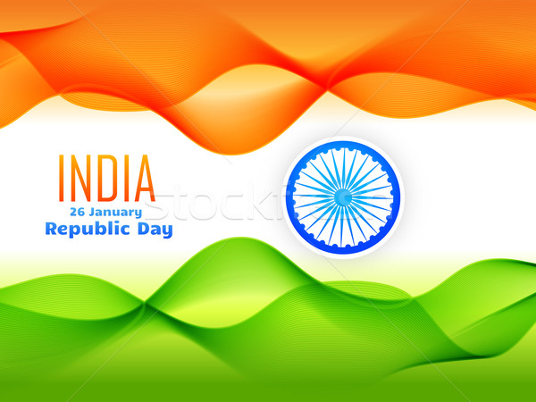 indian republic day flag design made with tricolor wave  Stock photo © Pinnacleanimates