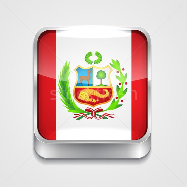 Bandera Perú vector 3D estilo icono Foto stock © Pinnacleanimates