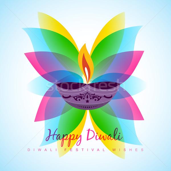Stock photo: diwali diya with leaf