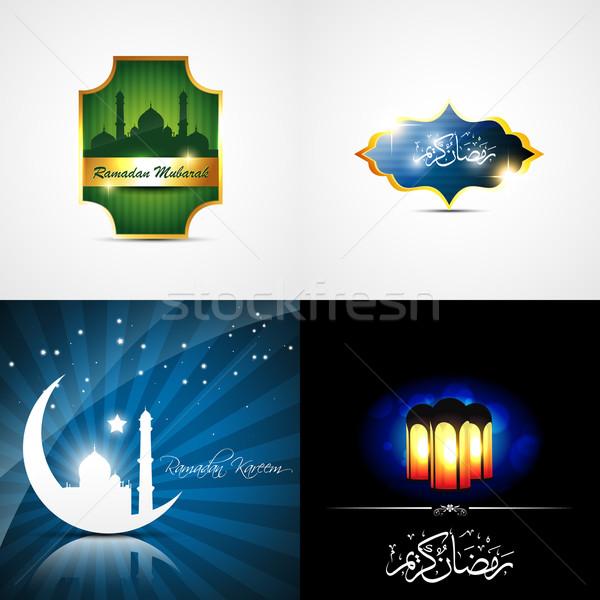 Vektor vonzó szett ramadán gyönyörű lámpa Stock fotó © Pinnacleanimates