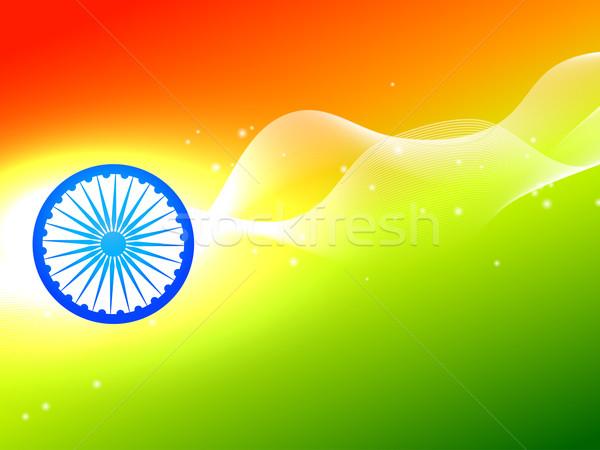 Hint bayrak tekerlek dalga üç renkli vektör Stok fotoğraf © Pinnacleanimates