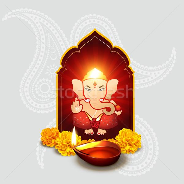 indian god with diwali diya Stock photo © Pinnacleanimates