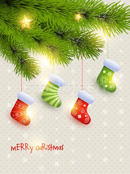 Christmas sokken mooie opknoping boom vector Stockfoto © Pinnacleanimates