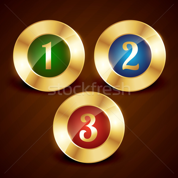 golden ranking number one two three vector Stock photo © Pinnacleanimates