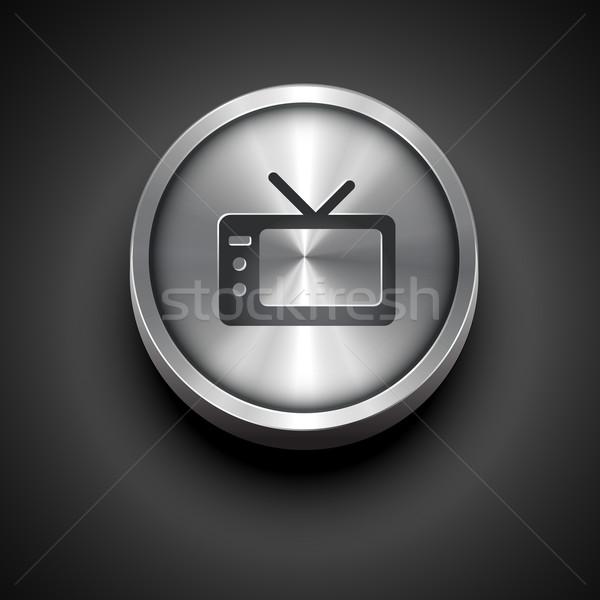 metallic television icon Stock photo © Pinnacleanimates