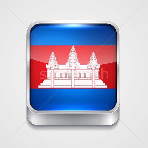 Bandeira Camboja vetor 3D estilo ícone Foto stock © Pinnacleanimates
