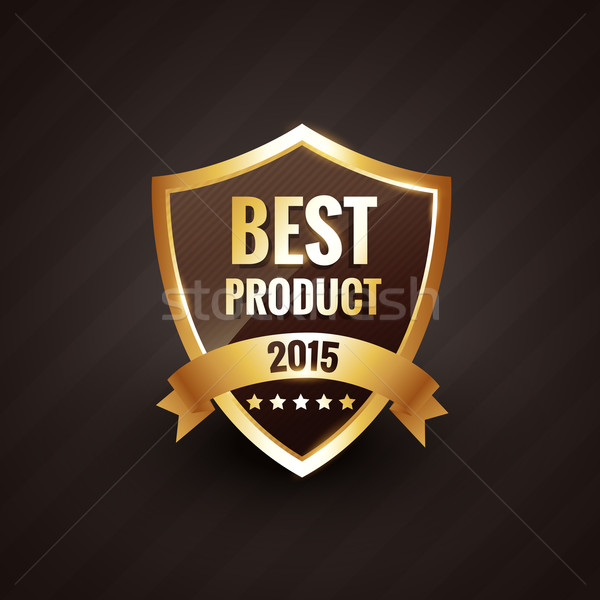 Stock photo: best product of 2015 vector golden label design badge
