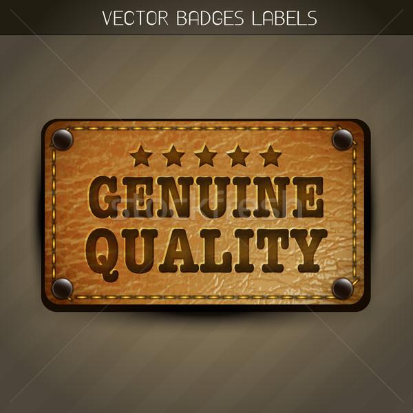 Genuíno estilo couro etiqueta projeto vetor Foto stock © Pinnacleanimates