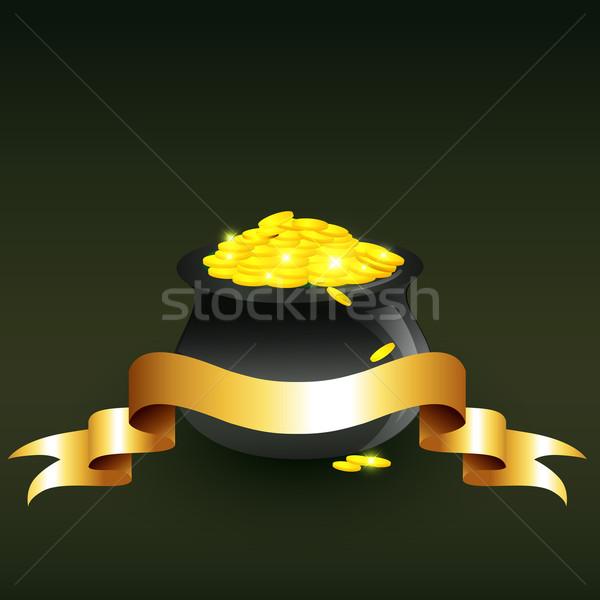 Vettore calderone completo monete d'oro illustrazione natura Foto d'archivio © Pinnacleanimates