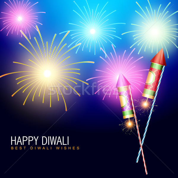 Diwali feux d'artifice fusée heureux star lampe Photo stock © Pinnacleanimates