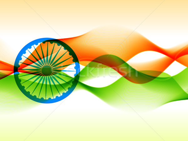 indian flag design made with in wave style  Stock photo © Pinnacleanimates