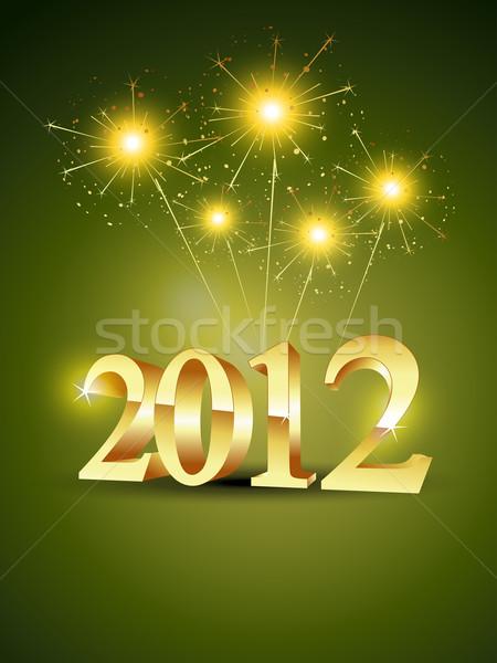 Foto stock: 2012 · vector · artístico · Navidad · estilo · feliz