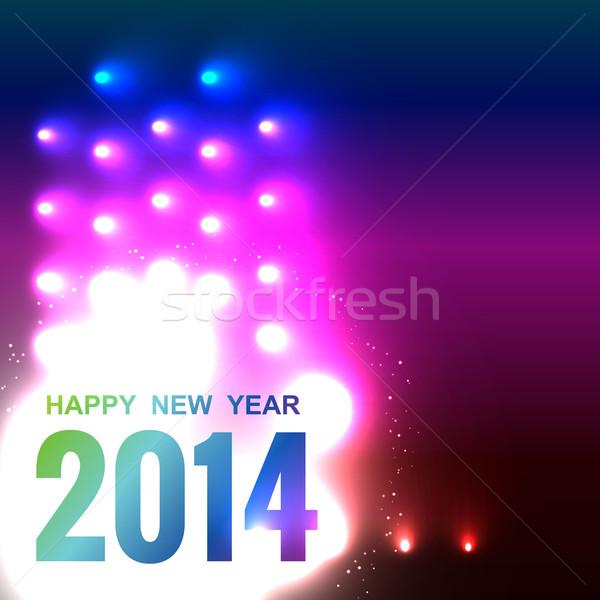с Новым годом 2014 Creative неоновых стиль счастливым Сток-фото © Pinnacleanimates