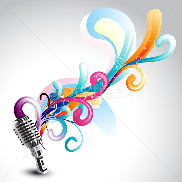 vector mic with floral Stock photo © Pinnacleanimates
