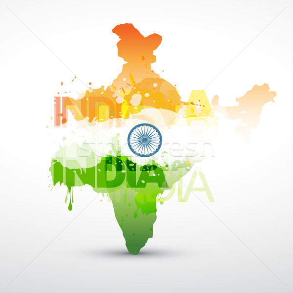 Indian Vektor Karte Indien Flagge abstrakten Stock foto © Pinnacleanimates