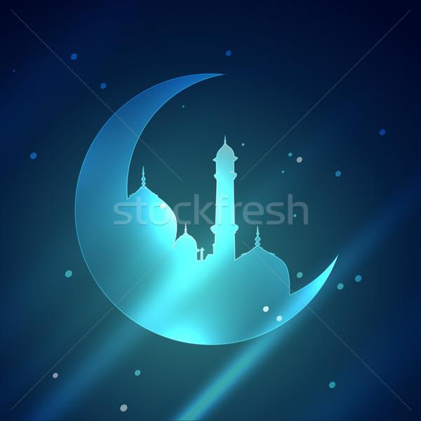 Iszlám mecset illusztráció fényes terv hold Stock fotó © Pinnacleanimates