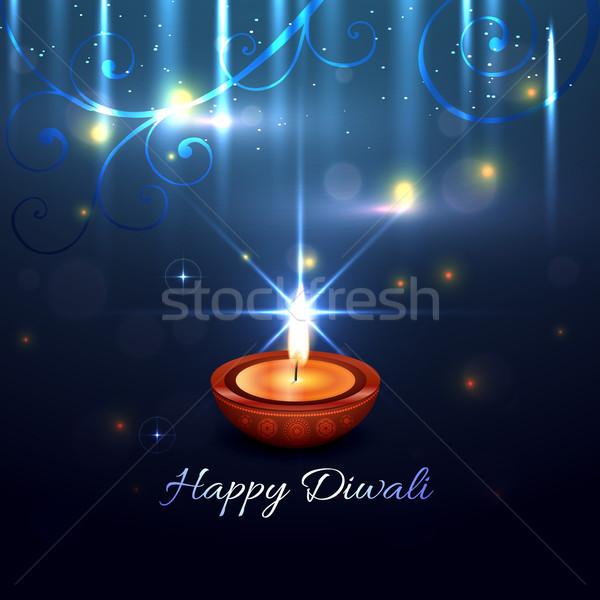Hermosa artístico diwali vector feliz luz Foto stock © Pinnacleanimates