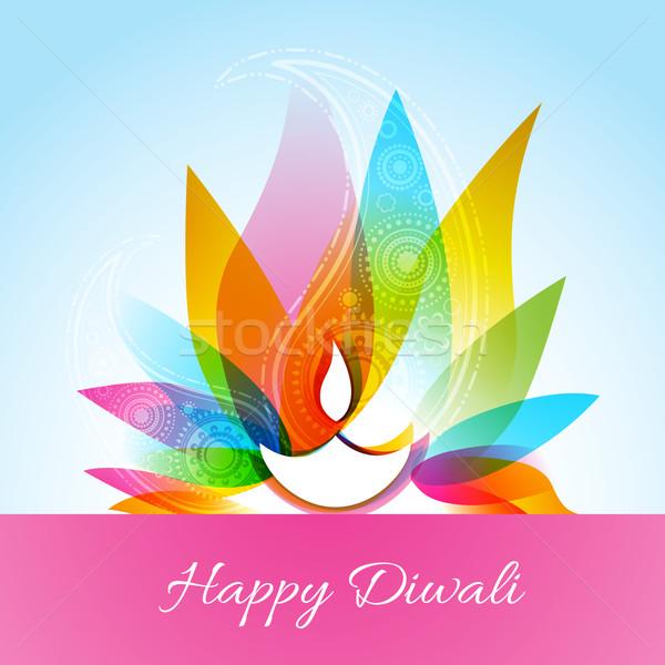 Stock photo: colorful diwali diya background