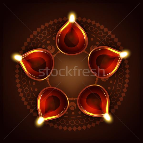 Diwali vector feliz luz espacio lámpara Foto stock © Pinnacleanimates