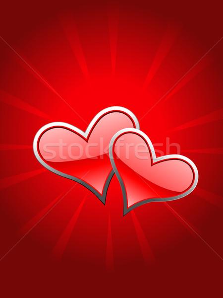 Beautiful red heart in glowy background Stock photo © Pinnacleanimates