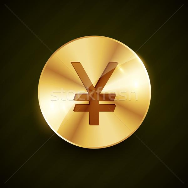 Altın yen simge sikke parlak vektör Stok fotoğraf © Pinnacleanimates