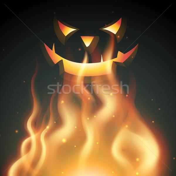 Sorridente halloween fantasma fogo árvore outono Foto stock © Pinnacleanimates