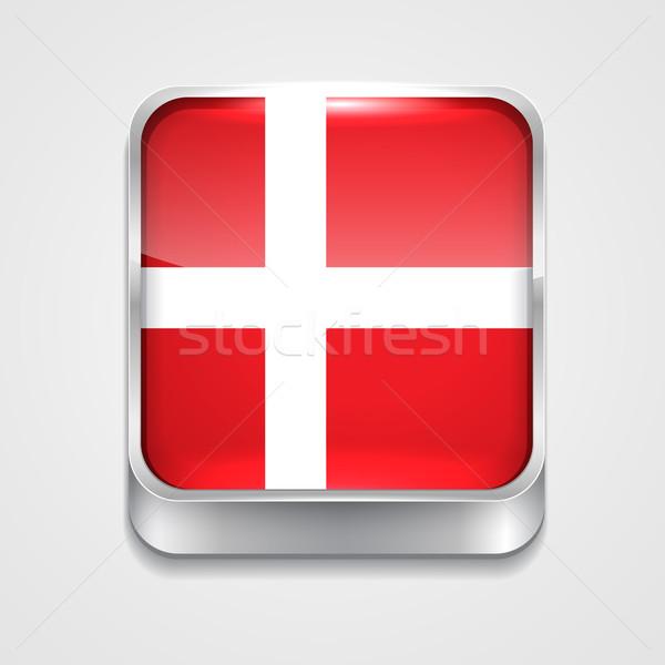 флаг Дания вектора 3D стиль икона Сток-фото © Pinnacleanimates