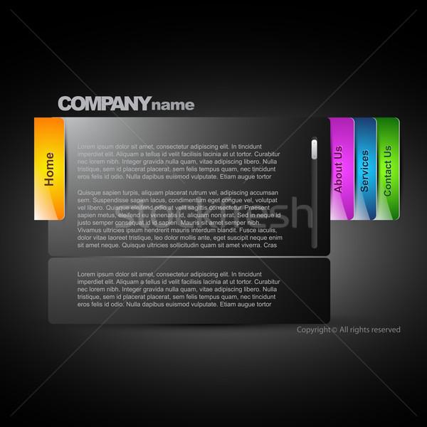 Stijlvol donkere web lay-out business internet Stockfoto © Pinnacleanimates