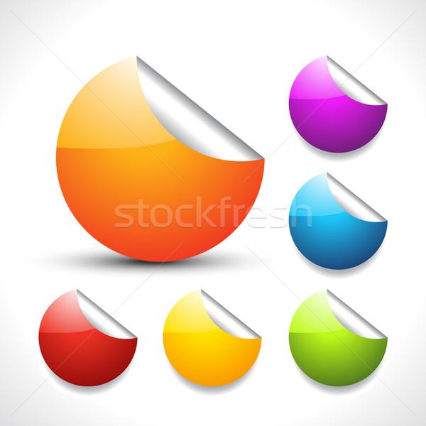 Stockfoto: Vector · kleurrijk · stickers · ingesteld · stijlvol · ontwerp