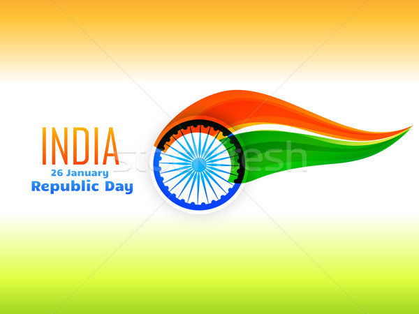 indian republic day flag design  made in wave style  Stock photo © Pinnacleanimates