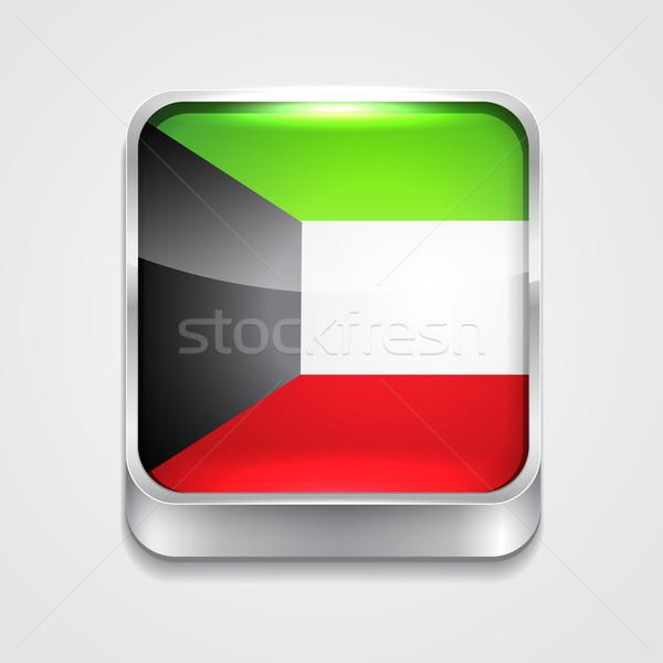 Vlag Koeweit vector 3D stijl icon Stockfoto © Pinnacleanimates