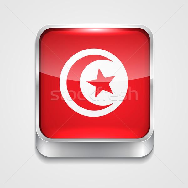 Stockfoto: Vlag · Tunesië · vector · 3D · stijl · icon
