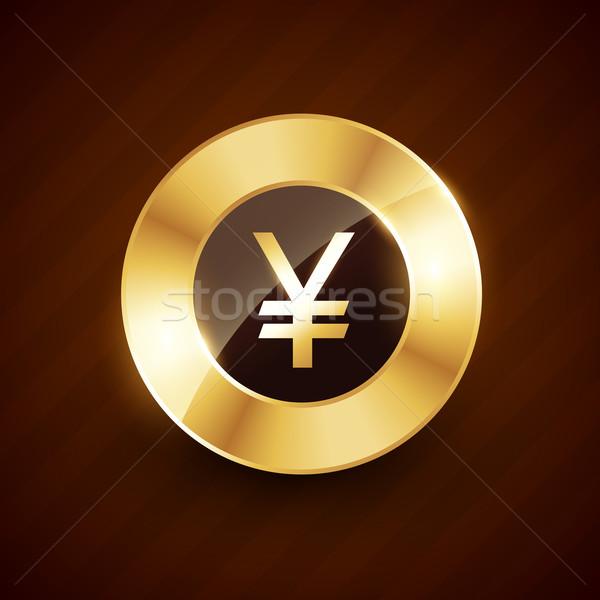 Yen altın sikke dizayn parlak etkileri Stok fotoğraf © Pinnacleanimates
